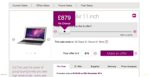 Slider showing that at this price there is no chance of purchasing the product