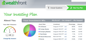 The Wealthfront platform picks ETFs for you according to your risk preference.