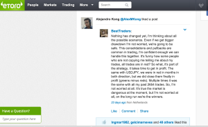 Etroro allow people to analyse and recommend trades (click picture to enlarge to get a clearer copy)